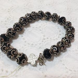 Black Silver Charm Swirly Beaded Elastic Bracelet